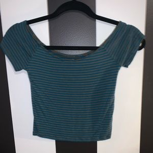 Forever 21 Tops - forever 21 blue/gray cap sleeve crop top